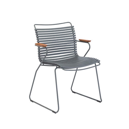 Click Outdoor Dining Chair W Armrest - Dark Grey