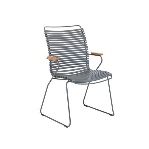 Click Outdoor Tall Dining Chair W Armrest - Dark Grey