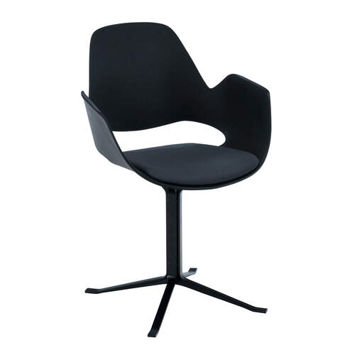 Falk Dining Chair W Column Legs - Black/Dark Grey