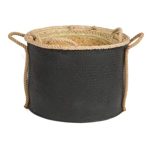SET OF 3 Heller Round Storage Basket - Black