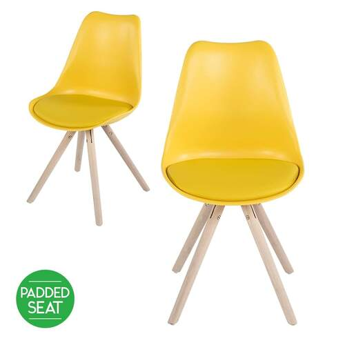 SET OF 2 Minsk Cushioned Dining Chair - Yellow