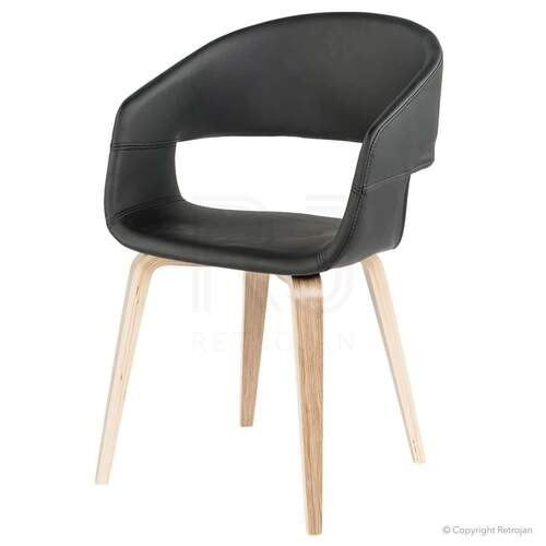 SET OF 2 Karston Scandinavian Style Dining Chairs - Black / Oak