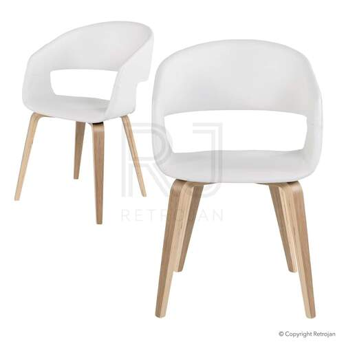 SET OF 2 Karston Scandinavian Style Dining Chairs - White / Oak