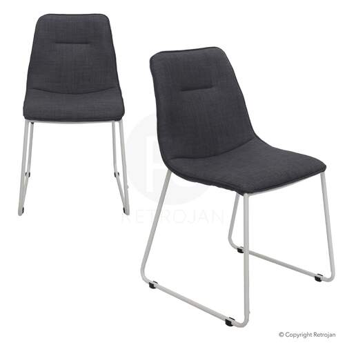 SET OF 2 Prague Upholstered Designer Dining Chair Charcoal / White Legs