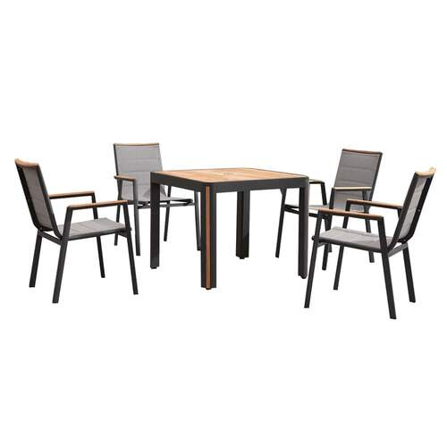 Madrid 5 Piece Dining Set - Charcoal