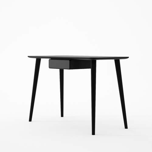 Domani Desk with Draw in European Oak Black Satin