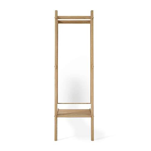 Simply City Standing Mirror W/Shelf - Oak