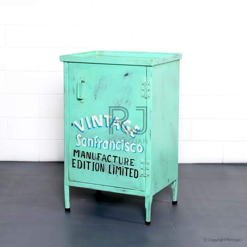 George Bedside Tables/Side Table - GREEN WITH WHITE TEXT
