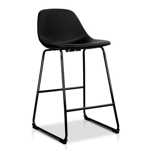 Set of 2 Kit PU Bar Stools - Black