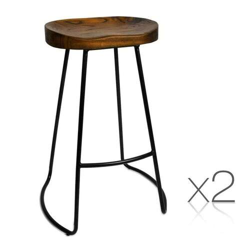 Set of 2 Kaya Bar Stool - 75cm Black