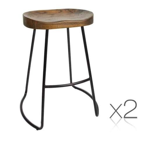 Set of 2 Kaya Bar Stool - 65cm Black