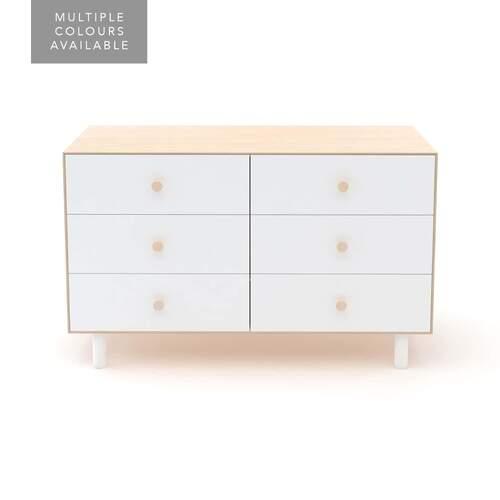 Merlin 6 Drawer Dresser With Fawn Base - Birch / White