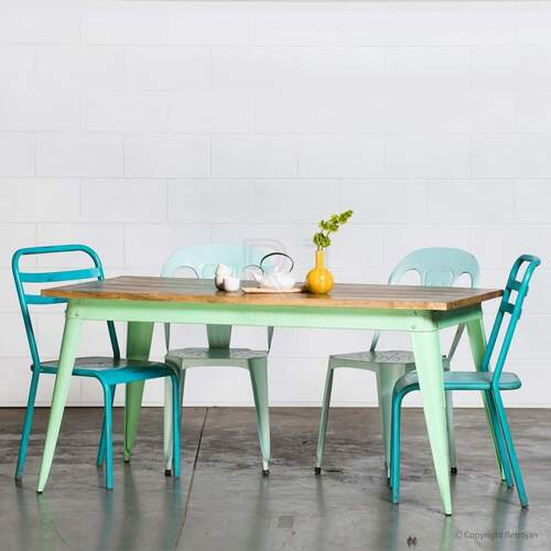 Large Retro Nash Table - Mint Green (Hand made, Solid wood)