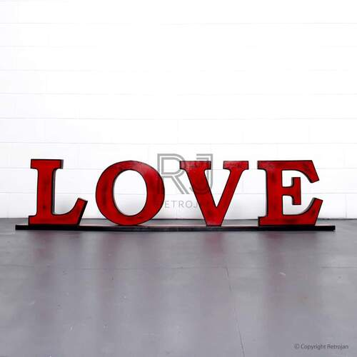 LOVE'  Retro Iron Feature Letters - Red / Black