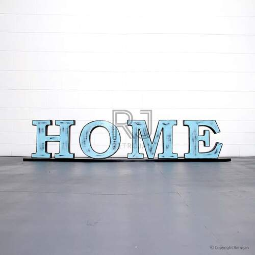 HOME'  Retro Iron Feature Letters - Blue / Black