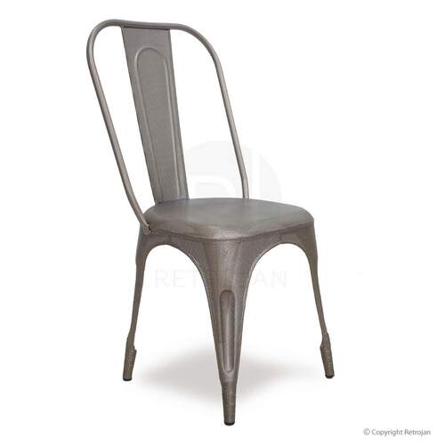 Leroy Punch Hole Cafe Dining Chair - Silver
