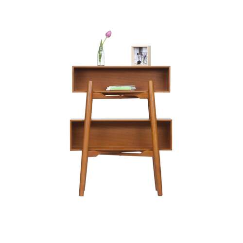 Marie Retro Sideshelf & DVD Rack - Walnut