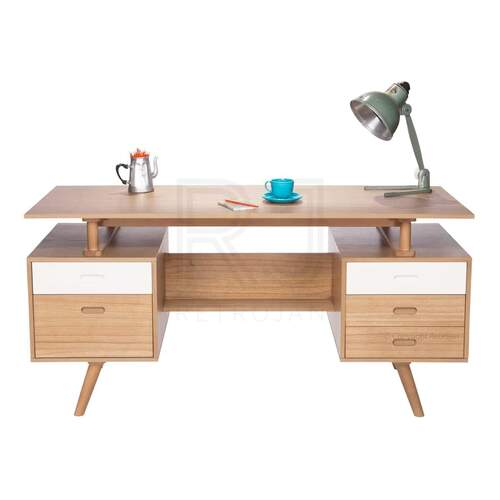 Josephine Scandinavian Style Office Desk - Natural / White