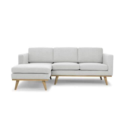 Sage Danish Style 3 Seater Designer Sofa with Chaise - Pale Grey - Left Hand Facing