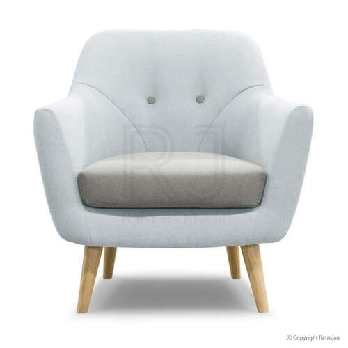 Finn Modern Designer Occasional Chair - Light Blue/Oak Legs