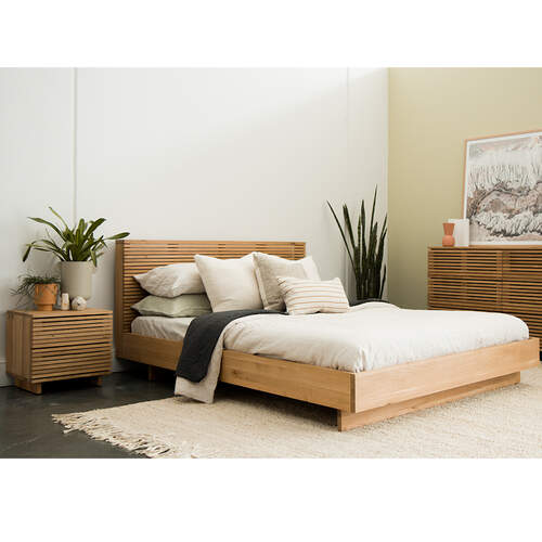 Linear Queen Bed - Oak