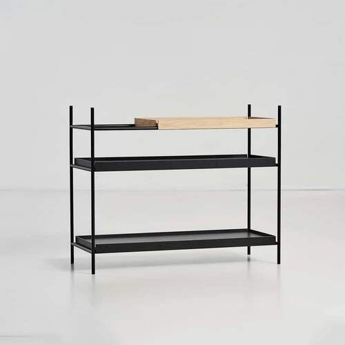 Tray shelf Low - Oak & Black