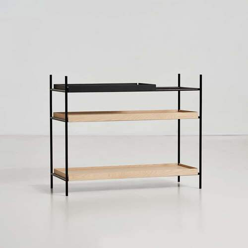 Tray shelf Low - Black & Oak